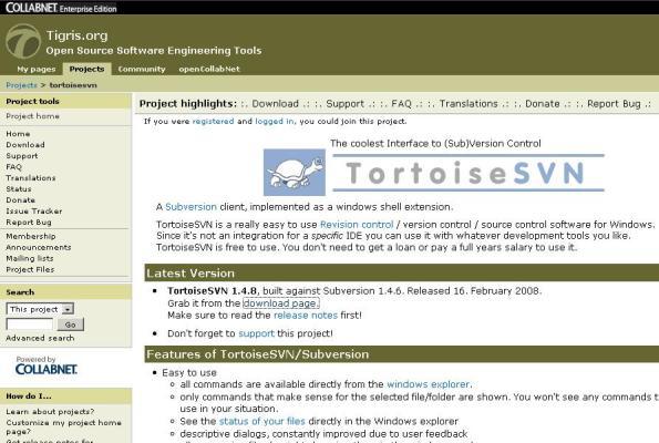 tampilan website tortoiseSVN