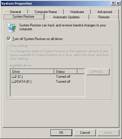 turn off system restore 02